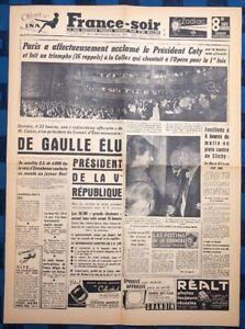 La Une Du Journal France Soir 21/22 Décembre 1958 Élection De De Gaulle