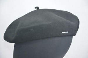 KANGOL-noir-beret-chapeau-100-LAINE-TAILLE-57cm-0252ht-NWOT-NEUF-haut-petit