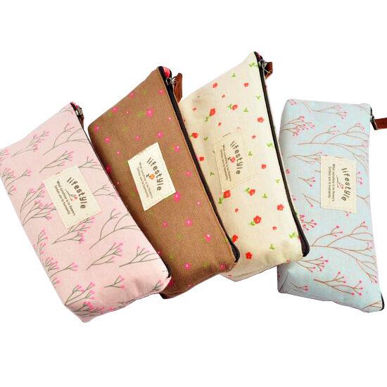 Pencil Pen Case Bag Pouch Ladies Cosmetic Makeup Case Beautiful Floral Pattern