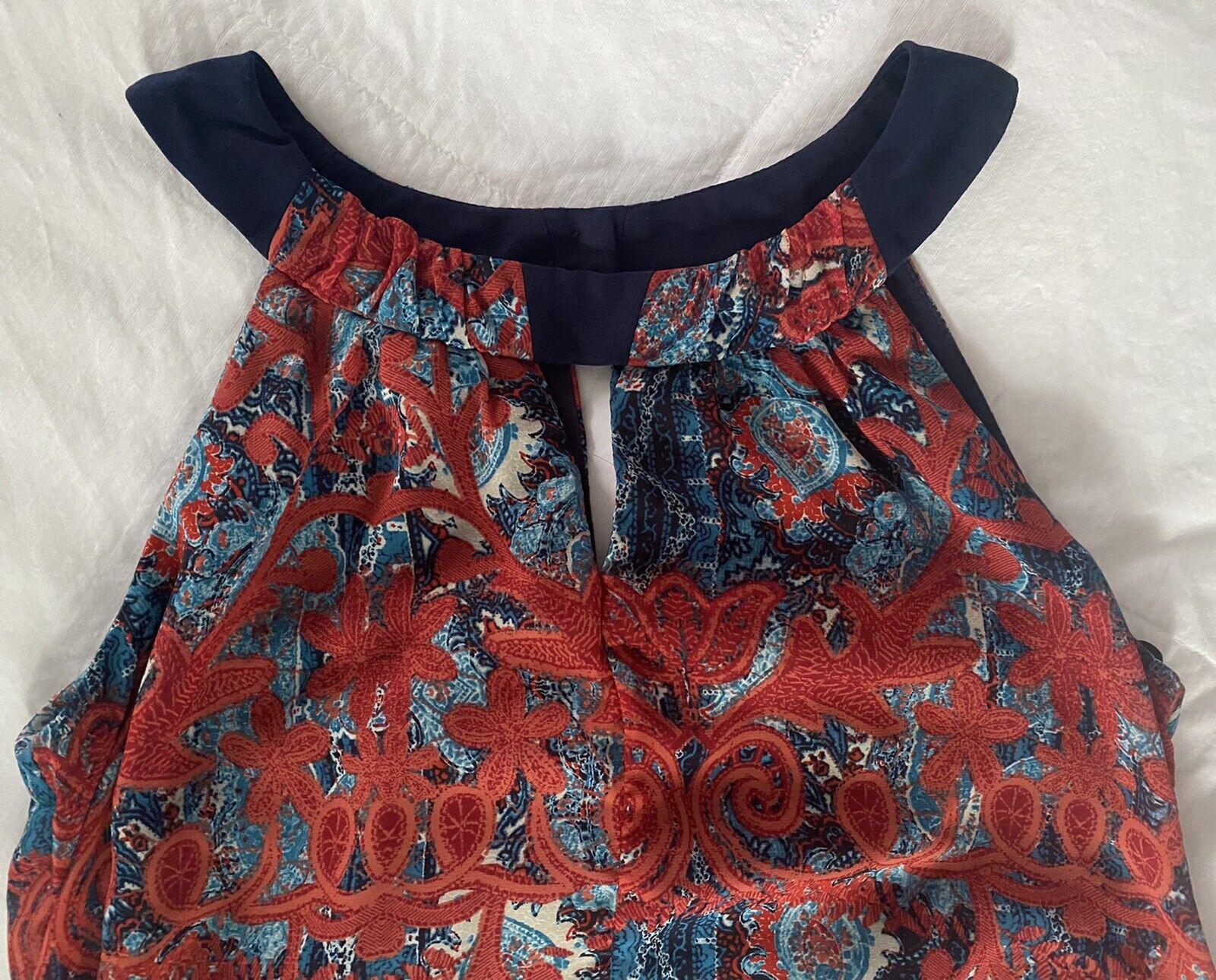 Cb Established 1962 Dress Sz 10 Red & Blue Sheer … - image 3