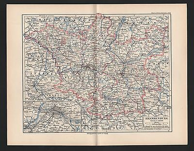 Einfach Landkarte City Map 1892: Brandenburg. Berlin Umgebung. Prignitz Uckermark Niede Rheuma Lindern