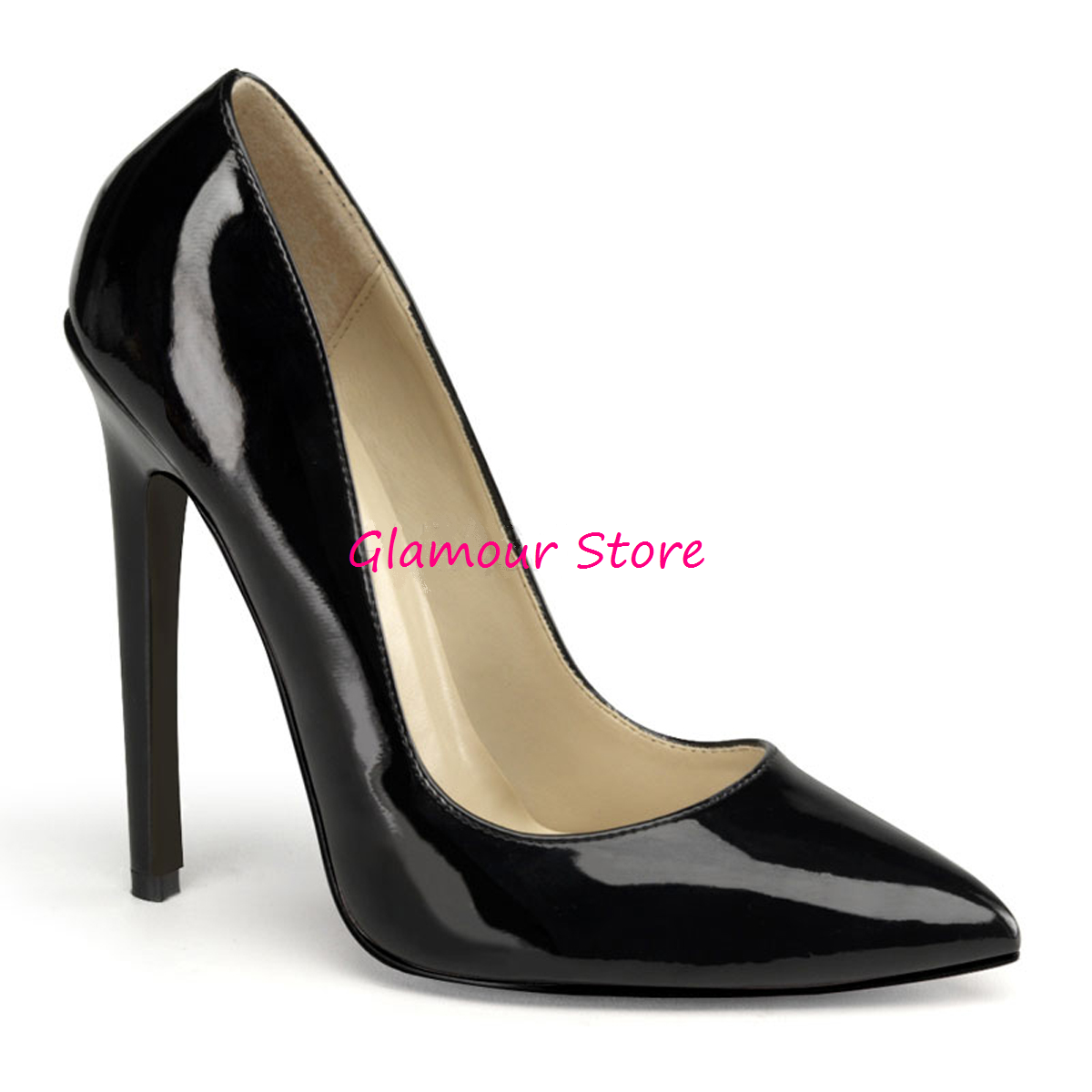 Sexy DECOLTE' a punta tacco 13 44 NERO LUCIDO dal35 al 44 13 scarpe fashion GLAMOUR e31707