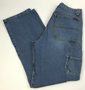 WOLVERINE-Blue-DENIM-Jeans-UTILITY-Men-039-s-COTTON-Carpenter-WORKWEAR-Sz-34x34