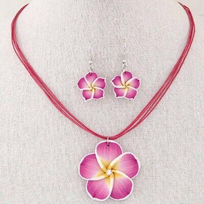 Hawaiian Plumeria Flower Necklace And Earring Jewelry Set Beach