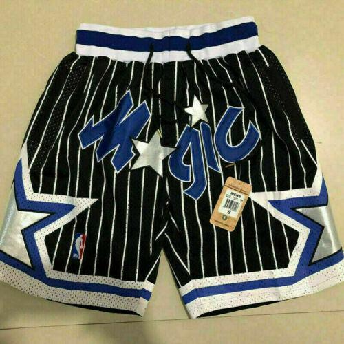 Orlando Magic Men/'s Basketball Shorts Vintage 1992-1993 Stitched Black Blue #