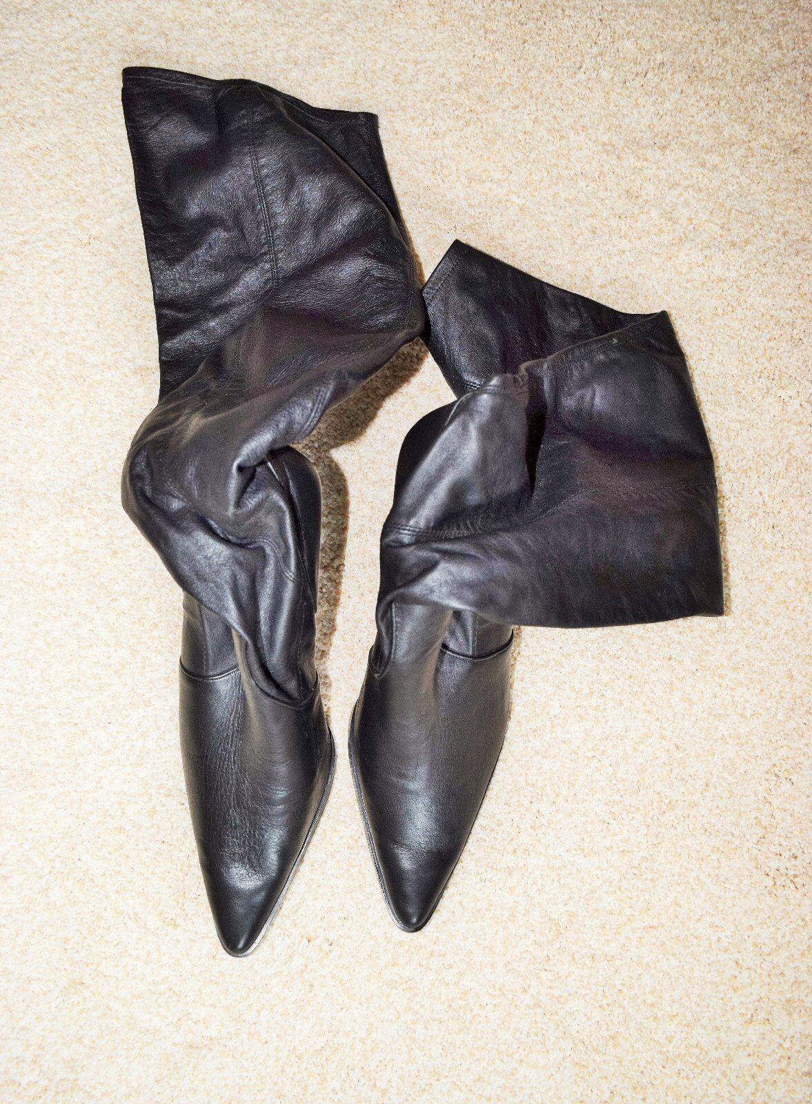 NEUF sans boîte Cami Noir international en cuir véritable au-dessus du genou talon 4  Bottes Taille 10