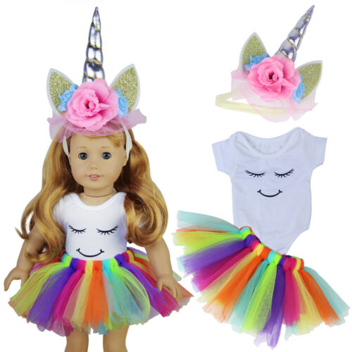 Handmade Doll Clothes Headband Horn Dress Outfit for 18 INCH Dolls Gift Girl Kid