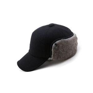 8d06544b57819 Siggi Mens Thick Wool Winter Baseball Cap with Ear Flaps Faux Fur ...