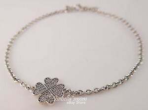 01ed66aac677f Details about SYMBOL OF LUCKY IN LOVE Genuine PANDORA Silver CLOVER  Bracelet 6.3/16cm 590506CZ