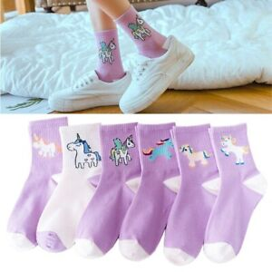 Unicorn Women Socks Cartoon Animal Funny Socks Purple Art Short...