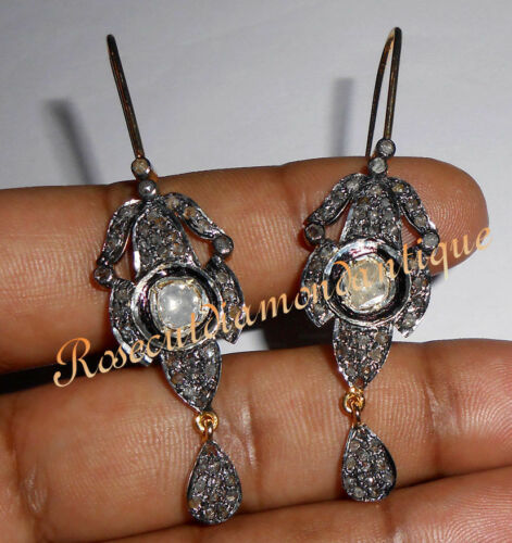 1.20ct ANTIQUE ROSE CUT DIAMOND 925 SILVER POLKI VICTORIAN DANGLE STYLE EARRINGS