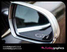 PEUGEOT 208 GTI Logo Specchio Decalcomanie Adesivi Grafica x3 in argento Etch Vinile