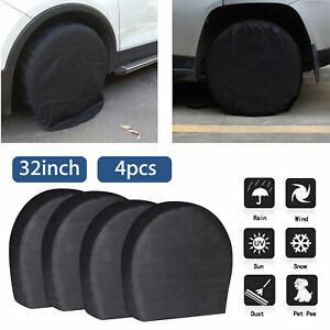 Waterproof-Tire-Covers-Set-Of-4-Wheel-amp-Tyre-RV-Trailer-Camper-Sun-Protector-32-034