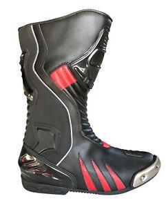 Motorradstiefel-hochwertige-XLS-Racing-Boots-Touringstiefel-schwarz-rot-Gr-42-46