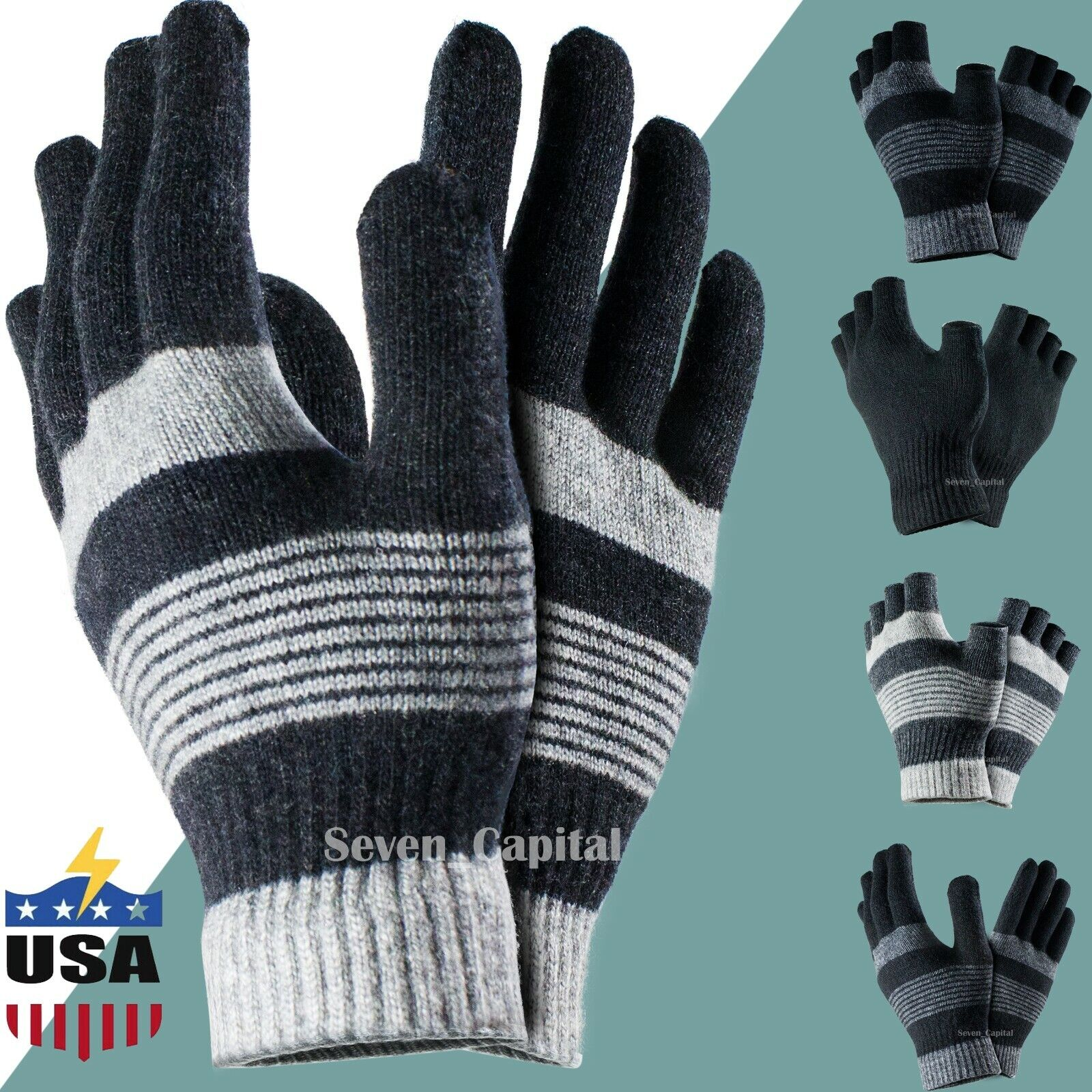 MEN/'S /& LADIES BLACK WARM THERMAL GLOVES STRETCHY KNITTED WINTER OUTDOOR SKIING