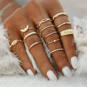 12-Rings-Boho-Knuckle-Set-Fashion-Gold-Heart-Love-Diamond-Thumb-Stack-Jewelry