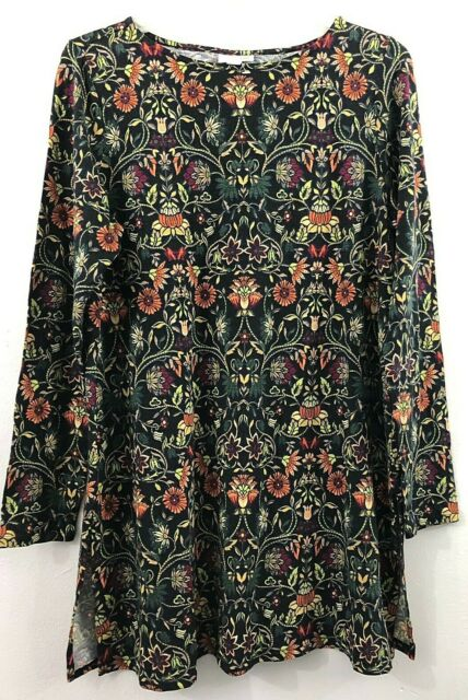 NEW J. JILL M Petite Tunic Knit Top Side Slits Pima Cotton Floral Green Black