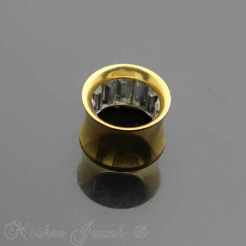 SIMULATED DIAMOND 14K YELLOW GOLD IP SCREW FLESH TUNNEL FLARE PLUG SPACER EARLET