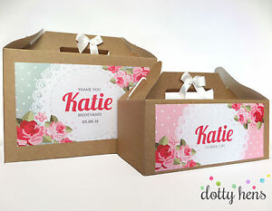 Image Is Loading Personalised Hen Party Gift Box English Rose Shabby
