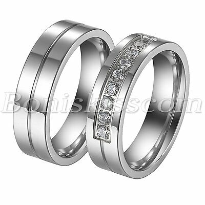 Couples Simple Stainless Steel Cz Wedding Engagement Band Ring