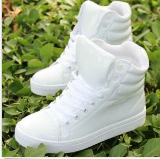 Womens Fashion Pu Leather Round Toe Lace Up Sneaker High Top Flat Board shoes