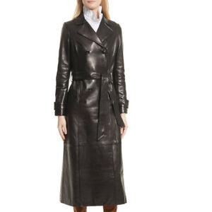 Damen Leder Trenchcoat Schwarz Mittellang Mantel Klassisch Lederjacke