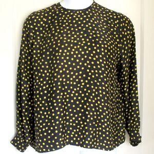 JERRI-SHERMAN-100-Silk-Blouse-Black-w-Gold-Polka-Dot-Long-Sleeve-Womens-Size-14