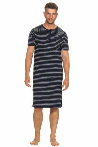 Herren Nachthemd mit Knopfleiste Kurzarm Streifen 65000