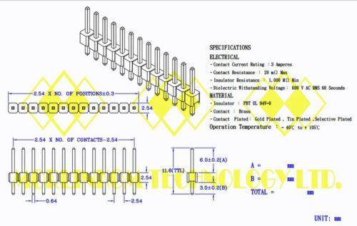 100x Gold plated Single Row 1x12p 1x12 12P Pitch=2.54mm H=11.6mm Male Pin Header