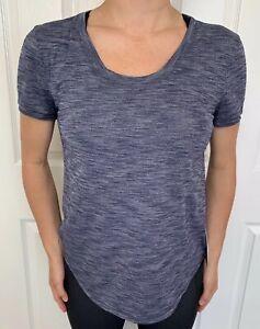 Lululemon Size 4 Meant To Move Tee Blue HDNY Short Sleeve Shirt Luon Run Yoga