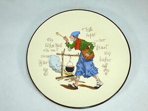 Reasonable Geritzter Plate With Saying Um 1860 Ceramics Mettlach Shock-Resistant And Antimagnetic Waterproof