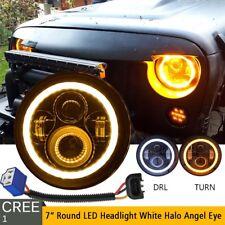 "DOT 7"" Inch Round LED Headlight Halo Angle Eyes For Jeep Wrangler JK LJ TJ CJ"