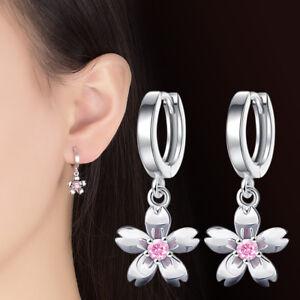 Women-Crystal-Cherry-Blossoms-925-Sterling-Silver-Flower-Earrings-Ear-Buckle
