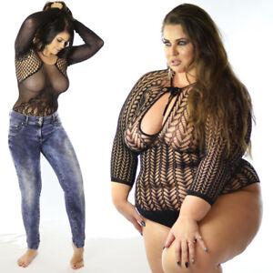 UK 6-26 Quality Sleeve Sheer Bodysuit Reversible Women/'s Fishnet Blouse Top Plus