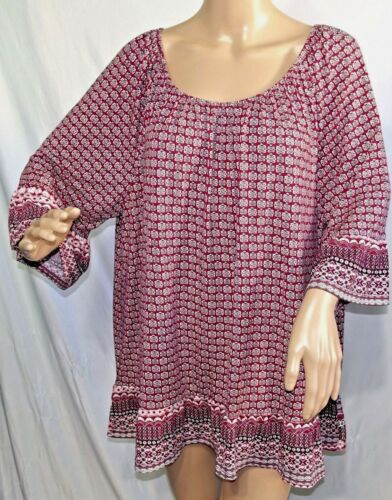 Como Blu Women Plus Size 1x 2x 3x Burgundy Ivory Floral Tunic Top Blouse Shirt
