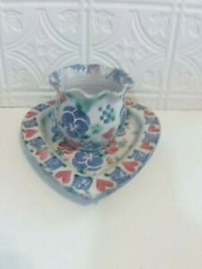 Heart Shaped Pottery Plate and Scalloped Topped Pitcher with Floral Design