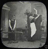 Glass Magic Lantern Slide THE MANAKIN COBLERS NO2 C1890 VICTORIAN STORY SHOE