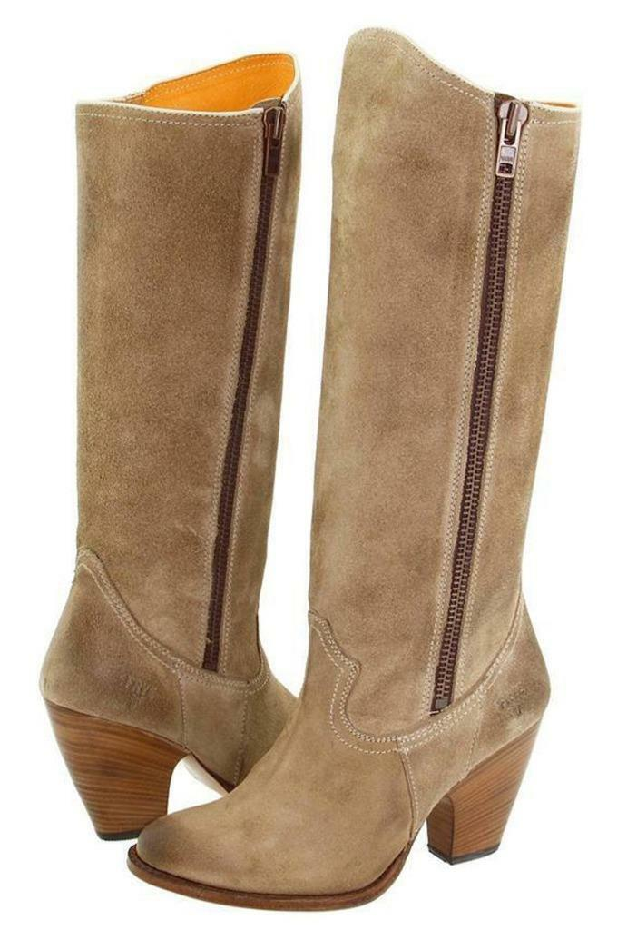 New in Box -  598 FRYE Angela Side Zip Tan Suede Leather Boots Size 6