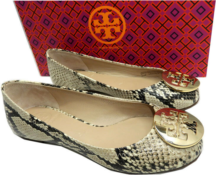 Tory Burch Reva Ballerina Flats Python Print Ballet shoes gold Logo 5.5 C-Roccia