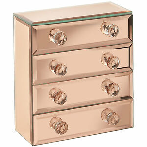 Beautify-4-Drawers-Rose-Gold-Mirrored-Glass-Jewellery-Box-Storage-Organiser
