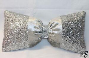 OFFERTA-Argento-velluto-schiacciato-Argento-Glitter-Fiocco-cuscino