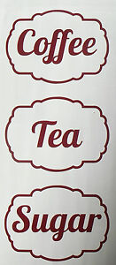 image is loading tea coffee sugar kitchen jar canister labels stickers