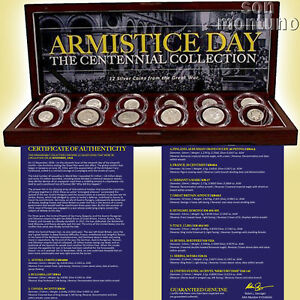 ARMISTICE-DAY-Set-of-12-Silver-Coins-from-The-Great-War-in-Wood-Box-with-COA