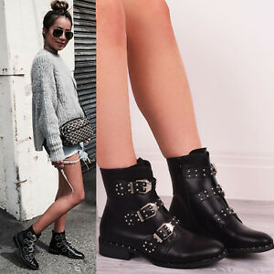 Ladies-Womens-Studded-Ankle-Boots-Buckle-Biker-Strappy-Flat-Zip-Fashion-Shoes-SZ