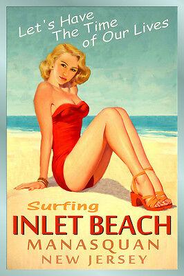 INLET BEACH Original Travel Poster MANASQUAN New Jersey Pin Up Art Print 167