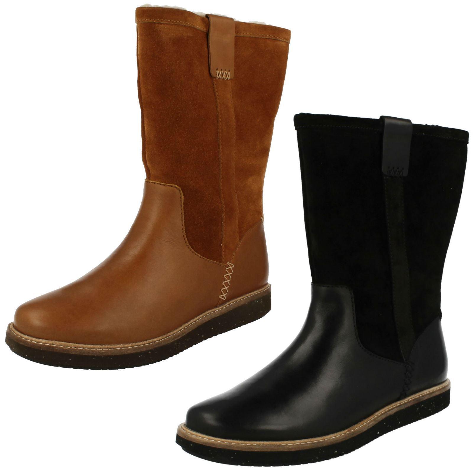 Mujer Clarks Cuero Sin Cordones Pantorrila De Plano  zapatos  Botas De Pantorrila Invierno glick 4f4ce3