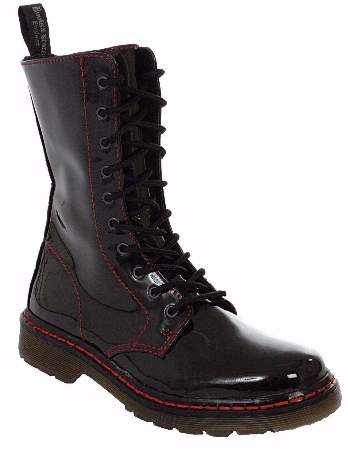 Botas & Tirantes patente de cuero señoras de Negro Rojo Puntada Botas de Combate Punk de 10 orificios