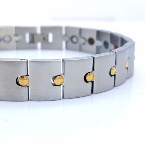 MEN/'S LADIE/'S STAINLESS STEEL MAGNETIC BRACELET 5 IN ONE SILVER//GOLD MS2