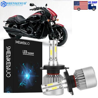 H4 COB LED Bulb HID White 360° Hi//Low Beam Motorcycle Headlight 6000K High Power