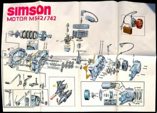 Explosionszeichnung Motor M542 /& M742 DIN A2 Original!